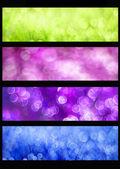 Set voor kleurrijke bokeh websites banners — Stockfoto