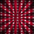 Red sunbeams and stars grunge background — Stock Photo