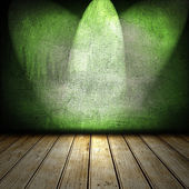 3d room with old wooden floor and green walls — Stock fotografie