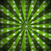 Green Sunbeams and stars grunge background — Stock Photo