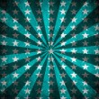 Blue sunbeams and stars grunge background — Stock Photo