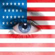 σημαία των ΗΠΑ σχετικά με ανθρώπινο πρόσωπο — Φωτογραφία Αρχείου