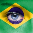 Brazil flag on woman face — Stock Photo