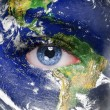 Stock Photo: Planet earth and blue human eye