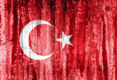 Grunge flag of Turkey on wall background — Stock Photo