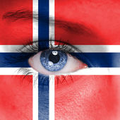 Norway flag painted on face — Stock Photo