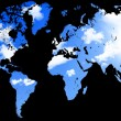World map with blue sky and clouds — Stock Photo