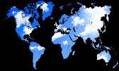 Världskarta med blå himmel och moln — Stockfoto