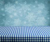 Tabella vuota con sfondo invernale — Foto Stock