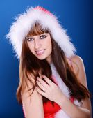 Girl in santa claus costume — Foto de Stock
