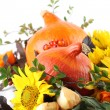 Autumn arrangement with pumpkins and sunflowers — Stock Photo