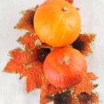 Hokkaido pumpkins with autumn leaves — Stock Photo #13808211