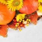 Autumn arrangement with Hokkaido pumpkins and sunflowers — Stock Photo