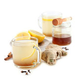 Ginger tea with honey lemon and spices — Stock Photo