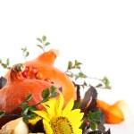 Autumn decoration with hokkaido pumpkins and sunflowers — Stock Photo #13929976