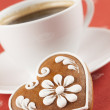 Gingerbread heart and coffee - Stock Photo