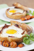 Baked eggs and bacon — Photo