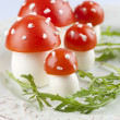 Tomato and egg fly agaric mushrooms — Stock Photo #24179877
