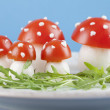 Tomato and egg fly agaric mushrooms — Stock Photo #24512249
