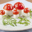 Tomato and egg fly agaric mushrooms — Stock Photo #24956825