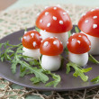 Tomato and egg fly agaric mushrooms — Stock Photo #25246981