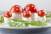 Tomato and egg fly agaric mushrooms — Foto de Stock