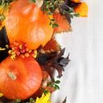 Autumn decoration with hokkaido pumpkins and sunflowers — Stock Photo #32004595