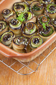 Baked eggplant and zucchini with hemp seed — Stockfoto