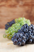 Blue and green grape clusters — Stock Photo