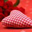 Checked fabric heart and roses — Stock Photo #7436465