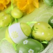 Green Easter eggs and yellow daffodils — Stock Photo #7443581
