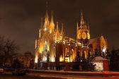 Katholische kathedrale. winter. nacht. — Stockfoto