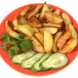 Foto de Stock  : Fried potato, cucumber and parsley.