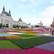 Moscow. Flowers parade on Red Square. Panorama. — Stock Photo