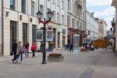 Outdoor photo exhibition in Stoleshnikov street in Moscow — Stock Photo