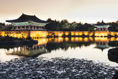 Anapji pond at sunset — Stock Photo