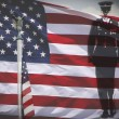 Iron bald eagle, soldier silhouette and an US National flag. — Stock Photo #45314645
