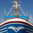 Bow of a fishing ship in a Dutch harbor - Stock Photo