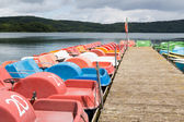 Small recreation boats at a jetty — Stock Photo