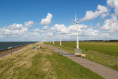 Sheep, sea and wind turbines in the Netherlands — Stock Photo