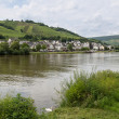 German river Moselle with view at village Zell - Stock Photo