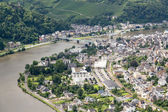 Aerial view of German city Traben Trarbach at river Moselle — Stock Photo