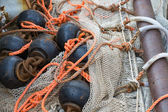Fishing nets with chains and ropes — Stock Photo