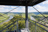 Aerial view from watch-tower over German river Moselle near Pund — Stock Photo