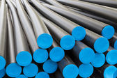 Big plastic tubes before electricty cables — Foto Stock