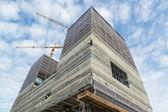 Lugar con rascacielos en construcción de trabajo — Foto de Stock