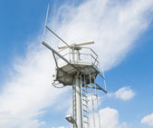 Radar installation against a blue sky — Stock Photo