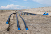 Digging of a big electricity cable trench for a big new windfarm — Stock Photo