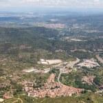 Aerial view at small Spanish village near Montserrat in Cataloni — Stock Photo
