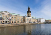 City view Goteborg of the Big Harbor Canal with City Museum — Stock Photo
